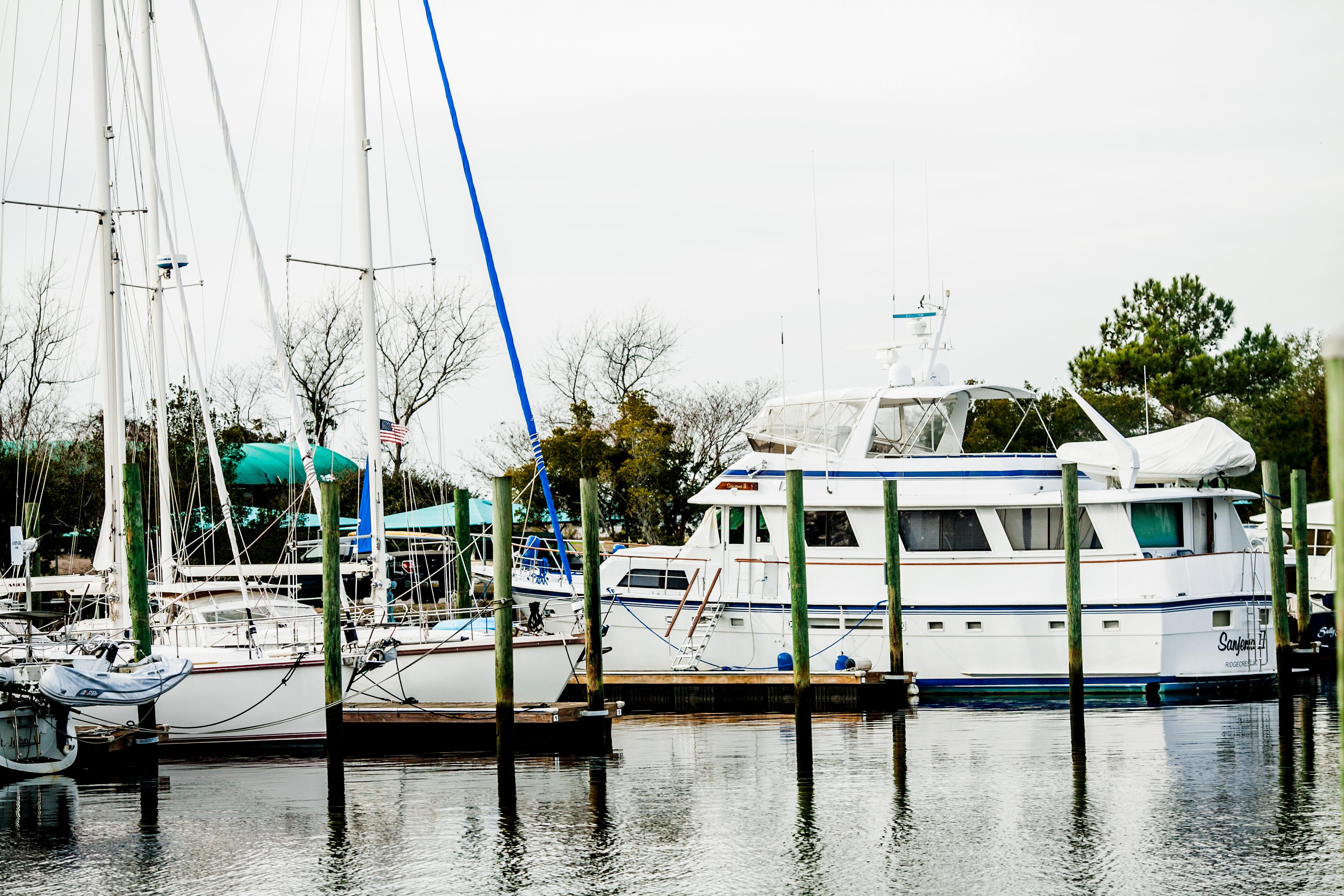 boats docked at wilmington marine center