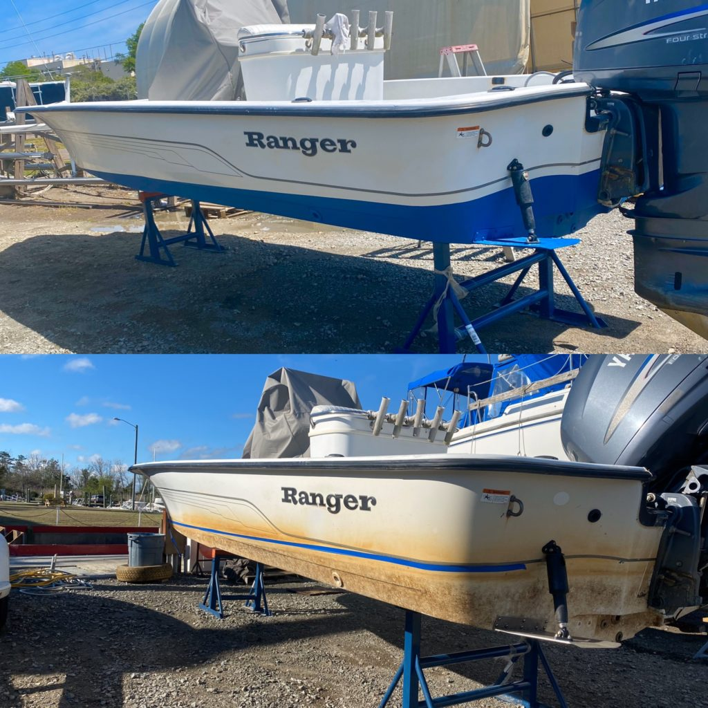 bottom boat paint before and after