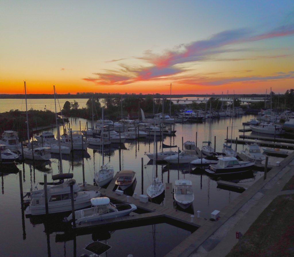Wilmington Marine Center sunset at the docks